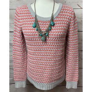 NWOT Gap Gray & Salmon Striped Sweater Size Small